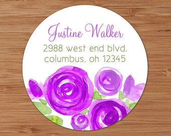 Purple Peonies - Custom Address Labels or Stickers