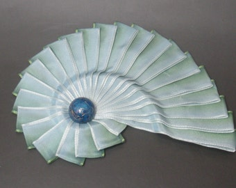 Blue to Green Variegated Ombre Chambered Nautilus Cocarde Cockade With Raised Ridge
