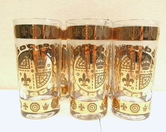 Mid Century Gold Crown and Flu De lis Drinking Glasses