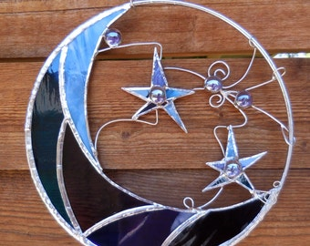 Stained Glass Moon and Stars-Handmade-Celestial-Decor-Unique Gifts-Birthday-Wedding-House Warming-For Her & Him-Anniversary-Glass Art-Decor