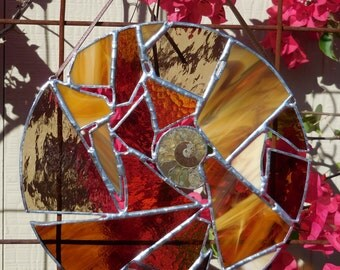 Stained Glass Round Panel - Abstract - Amber - Brown - Cream - Handmade - Gift - Mothers Day - Window Decor - House Warming - Birthday