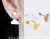 Nickel Free - Cloud Ear Studs Back Stoppers - Ear Jackets Golden / Silver / Rose Gold Brass Ear Cuffs Front Back Earrings (BE12)