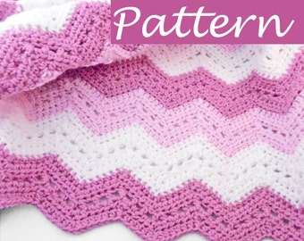 PDF Pattern to make Lace Chevron Baby Blanket