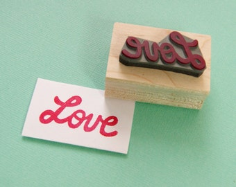 Love Stamp - Retro Love Rubber Stamper - Wedding Gift - Wedding Stamp - DIY Wedding Invites - Valentines - Hadmade Wedding - Script Font