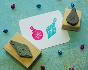 Christmas Stamp - Set of Two Baubles Rubber Stamps