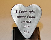 Guitar Pick Handmade from Aluminum in Heart Shape with More Love Than Words Can Say - GP558
