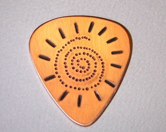 Copper Guitar Pick with Spiral Sun Handmade with Dots and Chasing Tools - GP839