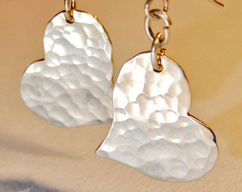 Hammered Sterling Silver Heart Earrings with Rustic Artisan Styling for Spreading the Love - ER224