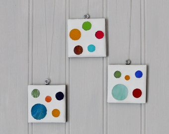 Mosaic Ornaments - Stained Glass - Circles - Square ornament - Set of three