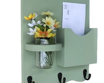 Mail Organizer - Mail and Key Holder - Letter Holder - Key Hooks- Jar Vase - Mail Organizer