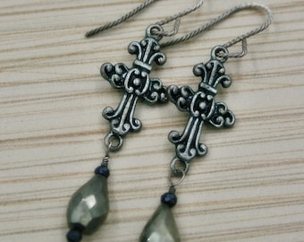 Faceted Pyrite with Titanium Black Spinel Cross Earrings