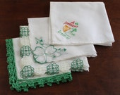 Lot of 4 Vintage Green and White Floral and Ireland Handkerchiefs