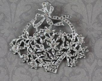 Vintage Silver Pot Metal Filigree Rhinestone Flower Basket Brooch