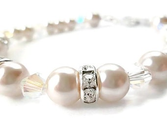 Wedding/ Pearl Bridal Bracelet/Bridal Jewelry/Pale Pink Pearls/Crystals/Sterling Silver/Bracelet