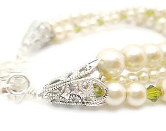 3 Strand Pearl Bracelet/Bridal Jewelry/Champagne Pearls/Swarovski Crystals/Sterling Silver Plated/Bracelet