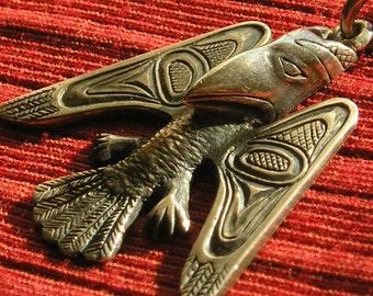Northwest Coast Sterling Silver Raven Pendant Necklace