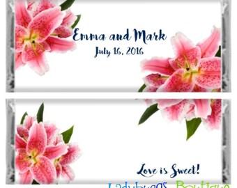 Stargazer Lily Floral Bridal Wedding Shower Birthday Party Favor Candy Bar Wrapper