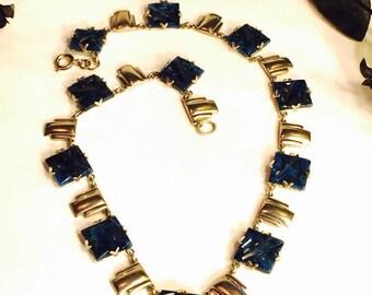 CIJ Christmas July SALE Beautiful 1920s Art Deco Geometric Carved Lapis Blue Art Glass Chevron Silver Vintage Necklace Art Deco Jewelry