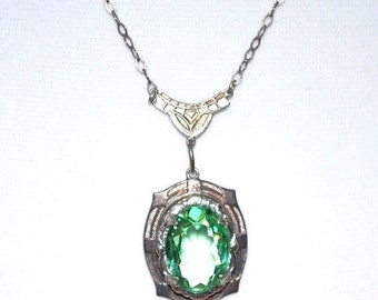 CIJ Christmas July SALE 1920s French Art Deco Sterling Silver Open Back Faceted Green Crystal Vintage Necklace