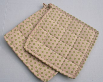 Quilted Hot Pot Holder and Trivet - Peach with Green Polka Dot