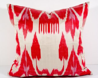 15x15 ikat cushion cover, red ikat pillow red pillow, ikat pillow, pillow cover cushion case, cuscino, coussin, red pillows, red cushion