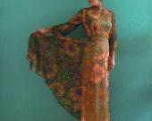 60's chiffon boho maxi dress // mock neck floral print maxi dress~ small medium