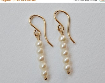 Pearl Stick Earrings - Beaded Gold Filled Dangle Earrings Beadwork Earrings Creamy White Pearls