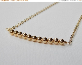 Gold Filled Bar Necklace - Beaded Bar Necklace Beadwork Necklace