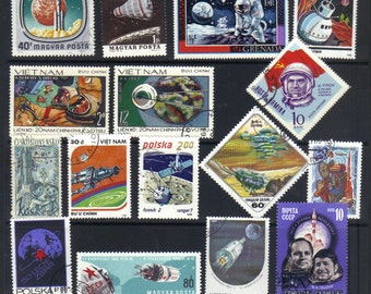 Spaceships and outer space - Vintage and modern postage stamps for scrapbooking - collage - mixed media - collecting