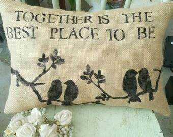 Burlap pillow with birds