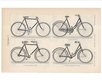 1894 ANTIQUE BICYCLE LITHOGRAPH original antique black and white transportation print