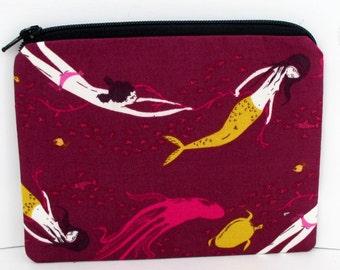 Mermaid Zipper Pouch , Underwater Sisters in Plum, Heather Ross Mendocino Fabric