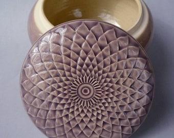 Stoneware  Lidded Jar  Lavender Purple or Jewelry Box Ornate Hand  Carved Design