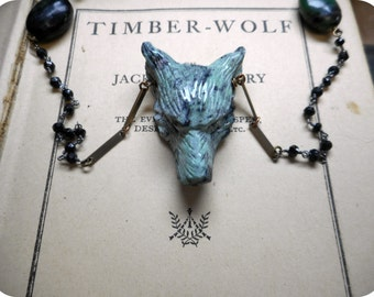 Wolf In Sheep's Clothing XXI   Carved African Turquoise Wolf Head Genuine Black Spinel & Ruby in Zoisite Rosary Boho Occult Necklace. OoaK