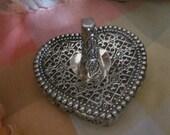Ornate SILVER HEART RING Holder Vanity Tray