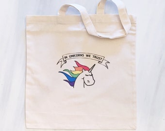 In Unicorns We Trust Tote Bag