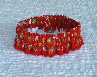 "Ruffle Dog Collar, Dog Bandana, Little Christmas Joys Dog Scrunchie Collar - red petite pom pom trim - Size L: 16"" to 18"" neck"