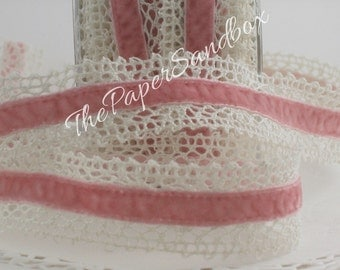 "Pink Velvet Crochet Lace Ribbon, 1"" wide Ribbon by the yard,  Baby Ribbon, Crafts, Sewing, Lace Trim, Weddings, Party Supplies, Gift Wrap"