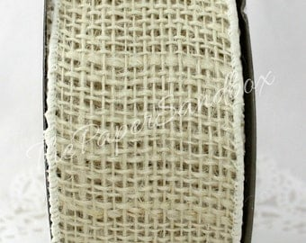 """Wired Ivory Burlap Ribbon, 2.5"""" wide Ribbon by the yard, Jute Ribbon, Wired Ribbon, Weddings, Wreaths, Gift Wrapping, Christmas, Rustic"""