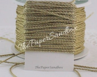 Gold Cord, 1mm, 10 yards, Weddings, Invitations, Gift Wrapping, Christmas Ribbon, Gold Trim, Scrapbooking, Party Supplies, Jewelry Supplies