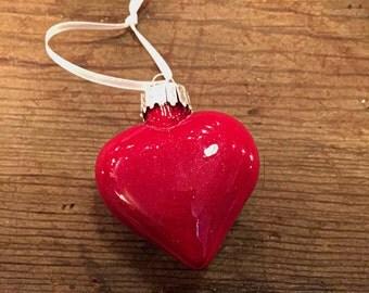 Tin Man's Heart Ruby Slipper Glitter Glass Heart Ornament