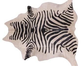 Brazilian Cowhide - Large Stenciled Zebra Fur Rug