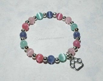 NEW Skye & Everest - Paw Patrol Inspired - Pink, Purple, Teal Puppy Paw Bracelet
