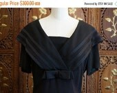 ON SALE 1940s Black Crepe Sailor Collar Dress