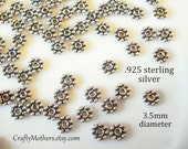 SET OF 50, 3.5mm Bali Sterling Silver Daisy Spacer Beads, oxidized, artisan-made jewelry supplies, bridal, earrings, necklace, bracelet