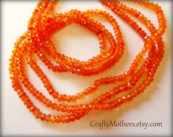 JUICY Orange CARNELIAN Faceted Rondelles 3.5mm - 1/4 strand (3.5 inches long)