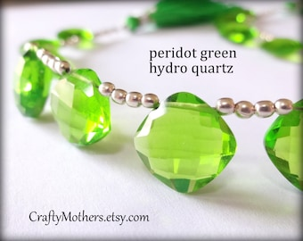 29% SALE! (Code: FROSTY) PERIDOT Green Hydro Quartz Faceted Cushion Briolettes, (1) Matched Pair, 13mm, earring, diy jewelry