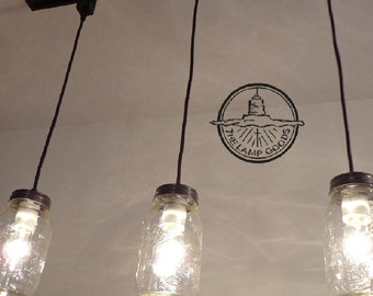Mason Jar TRACK LIGHTING Pendant New Quart Chandelier
