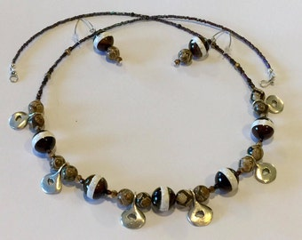 Etched Natural Agate and Greek Silver Drop Bead Necklace and Earring Set