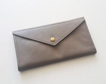 Grey envelope  wallet - leather women wallet